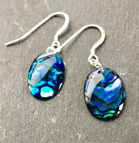 Paua Blue Earrings Oval PE18